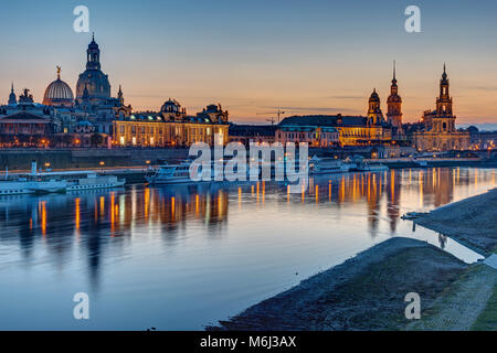 The old town of Dresden with the river Elbe after sunset - Stock Photo