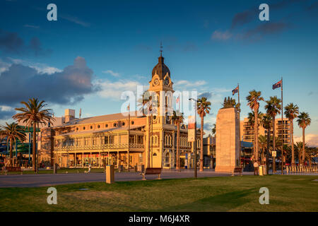 Adelaide, Australia - February 25, 2016: Glenelg Town Hall with Pioneer Memorial viewed through Moseley Square at - Stock Photo