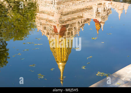 Reflection of Ananda Pagoda, Ananda Temple at Bagan, Myanmar (Burma), Asia in February - Stock Photo
