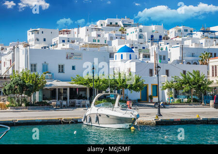 NAOUSA TOWN, PAROS ISLAND, GREECE, JULY 2017: Naoussa village in the island of Paros, Cyclades is one of the most - Stock Photo