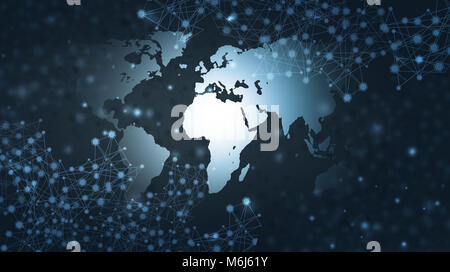 abstract global web communicatins and connections technology network blue background - Stock Photo