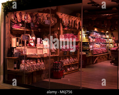 Shop in Val Gardena selling pork - Stock Photo