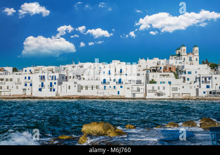 Naousa town, Paros island. Naoussa village in Cyclades is one of the most beautiful summer destinations in Geeece - Stock Photo