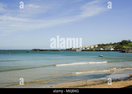 Seascape view looking across Swanage Bay towards the pier on a sunny day, Swanage, Dorset, UK - Stock Photo