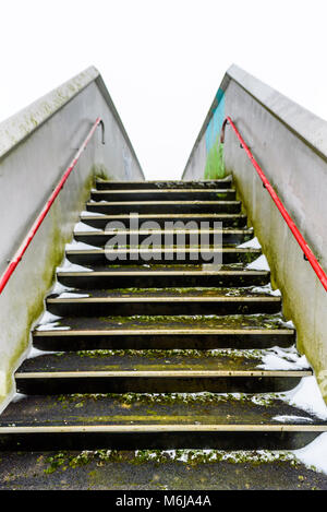 Empty Pedestrian Metal Bridge Elevated Walkway Over British Railroad. - Stock Photo