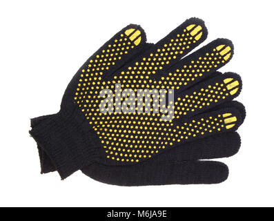 Work gloves black cotton isolated background - Stock Photo
