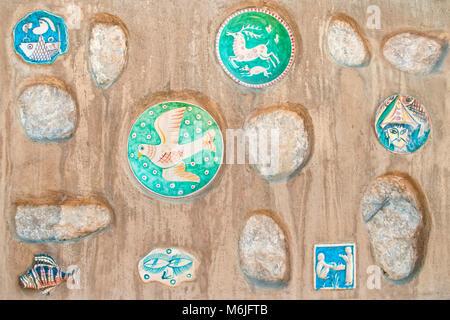old traditional italian ceramic decorations on house wall in Vietri Sul Mare, Amalfi coast, Italy - Stock Photo
