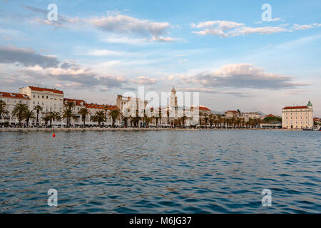 The Split waterfront in the afternoon in the spring - Stock Photo