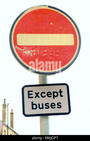 No Entry Sign (Except Buses). British Traffic Road Signs. - Stock Photo