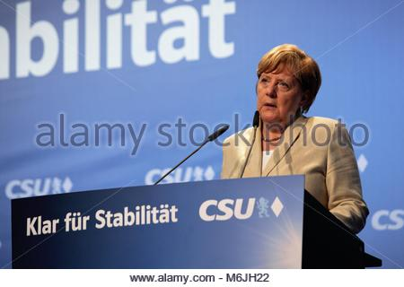 The German chancellor, Angela Merkel, at an election rally in Erlangen, Bavaria, in August 2017. - Stock Photo