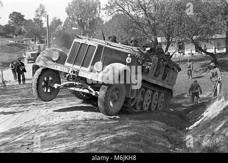 German Wehrmacht troops in SdKfz 6 half-track military vehicle near Sambor Poland in 1939 during the Invasion of - Stock Photo