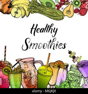 Colorful hand drawn sketch style smoothie with fruits and vegetables. Vector illustration. - Stock Photo