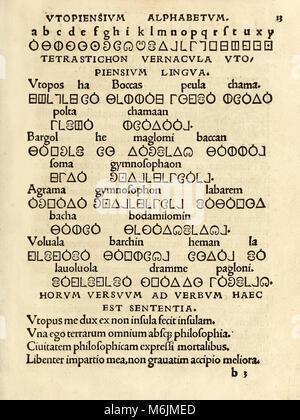 'Utopiensium Alphabetum' (Utopian Alphabet) from the 1518 third edition of 'Utopia' by Sir Thomas More (1478–1535) - Stock Photo