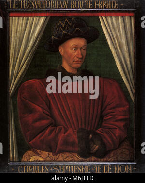 Charles VII, King of France 1450, Fouquet, Jean, 1450. - Stock Photo