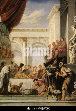 The Parable of Dives and Lazarus, Feti, Domenico, 1620. - Stock Photo