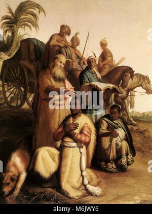 The Baptism of the Eunuch, Rembrandt, Harmensz van Rijn, 1626. - Stock Photo