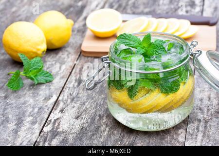 homemade  fruit drink with lemon - Stock Photo