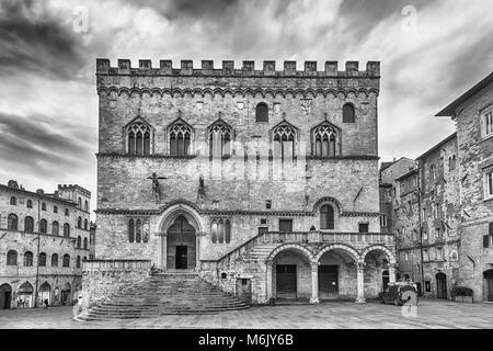 View of Palazzo dei Priori, historical building in the city centre of Perugia, Italy - Stock Photo