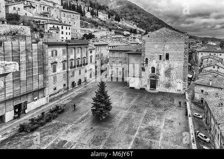 Aerial view of Piazza Grande, scenic main square in Gubbio, one of the most beautiful medieval towns in central - Stock Photo