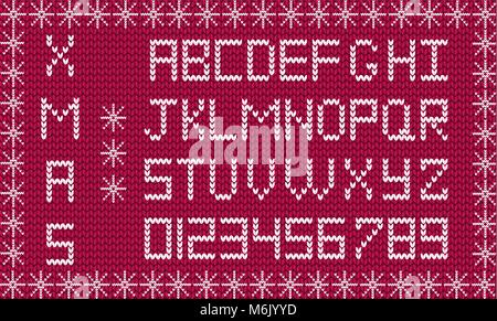 Knit new year or christmas alphabet framed with snowflakes. New year burgundy background with white knitted alphabet. - Stock Photo