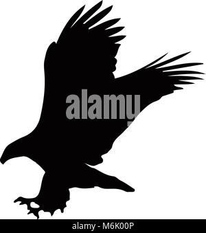Black silhouette of eagle  isolated on white background. Vector illustration, clip art, icon, sign, symbol of eagle - Stock Photo