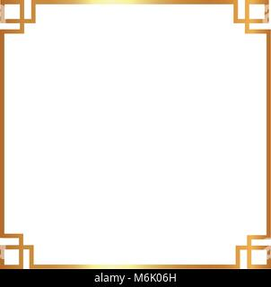 decorative  design in gold frame with  square shape   vector illustration  vector illustration - Stock Photo