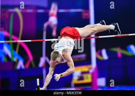 Birmingham, UK. 4th Mar, 2018. Piotr Liske in Men's Pole Vault Final during IAAF World Indoor Championships at Arena - Stock Photo