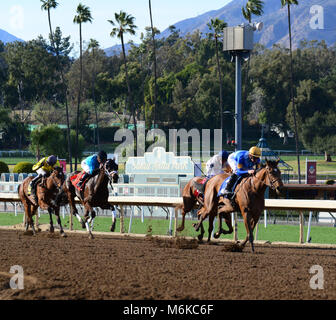 March 5, 2018 - Arcadia, ca, usa - Race Horse -  WELL HELLO with jockey FLAVIEN PRAT lead the pack to the wire during - Stock Photo