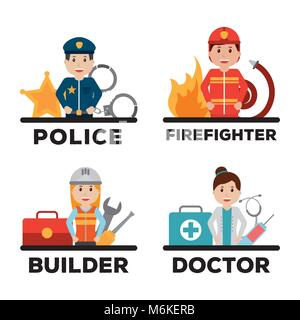 people worker profession card - Stock Photo