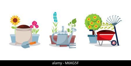 gardening set equipment tools flowers tree plant - Stock Photo