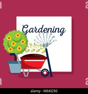 gardening lettering wheelbarrow pitchfork pot tree - Stock Photo