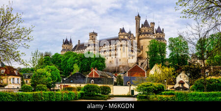 Impressive Pierrefonds castle,panoramic view,France. - Stock Photo