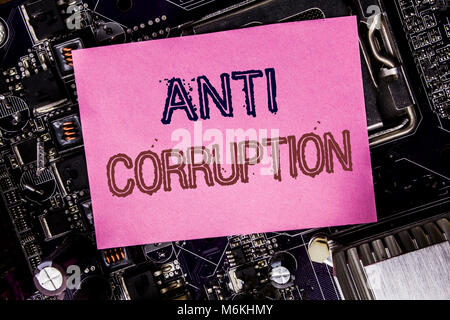 Conceptual hand writing text caption inspiration showing Anti Corruption. Business concept for Bribery Corrupt Text - Stock Photo