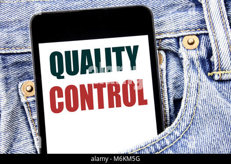 Hand writing text caption inspiration showing Quality Control. Business concept for Improvement Work written on - Stock Photo