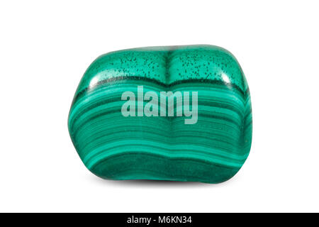 Macro shooting of natural gemstone. Polished green Nephrite , jade. Mineral gem stone. Isolated on white background. - Stock Photo