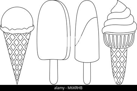 Ice cream coloring book. Line drawing of dessert made from ...