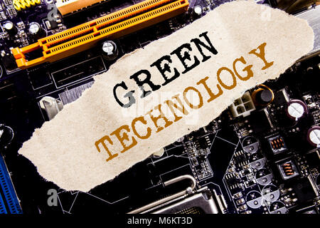 Handwriting Announcement text showing Green Technology. Business concept for campaign, Written on sticky, computer - Stock Photo