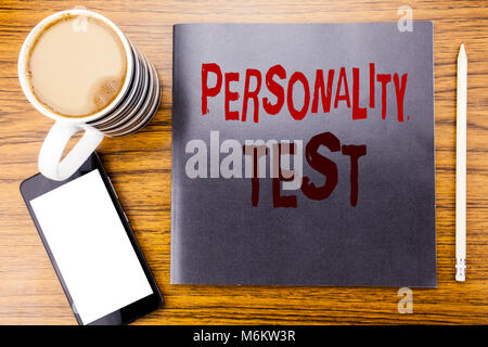 Handwriting Announcement text showing Personality Test. Business concept for Attitude Assessment Written on notepad - Stock Photo