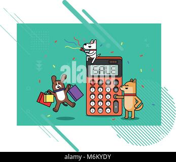 Illustration - animals shopping concept vector. various payment method of e-commerce, coupon and card.  001 - Stock Photo