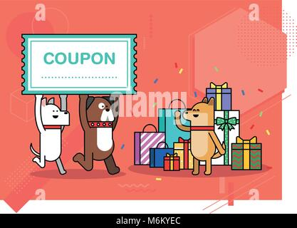 Illustration - animals shopping concept vector. various payment method of e-commerce, coupon and card.  008 - Stock Photo