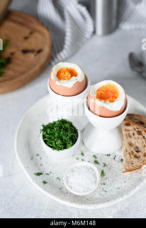 Hard boiled eggs for breakfast. Selective focus - Stock Photo