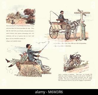 Victorian cartoon by Randolph Caldecott, Strange Adventures of a Dog-car, by Randolph Caldecott - Stock Photo