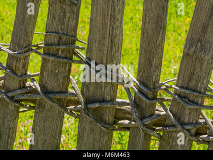 Wooden fence in south tyrol, Italy. typical wooden fence system of the alpine areas of Trentino Alto Adige - Stock Photo