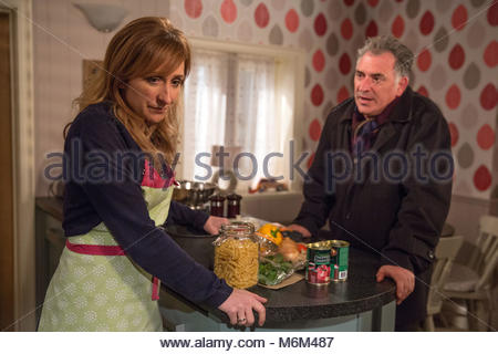 Undated ITV Handout Photo from Emmerdale. Pictured: (L-R) Charlotte Bellamy as Laurel Thomas and Tony Audenshaw - Stock Photo