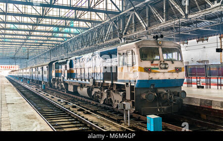 Passenger train at Chhatrapati Shivaji Maharaj Terminus in Mumbai Stock Photo