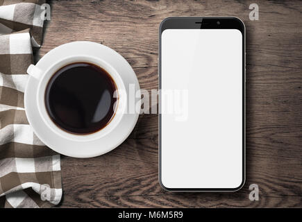 new smartphone top view on old wood table with cloth and coffee - Stock Photo