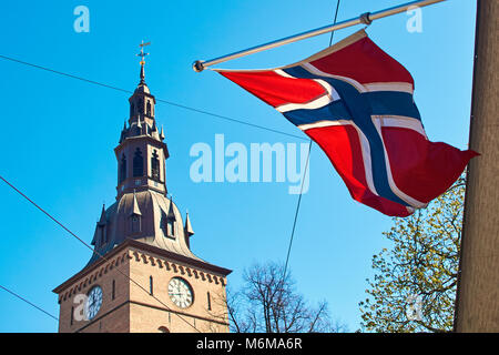 Norwegin flag waving on a sunny spring day in Oslo, Norway - Stock Photo