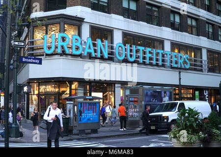 New York City - September 2016: Urban Outfitters Herald Square Manhattan storefront. Multinational clothing corporation - Stock Photo