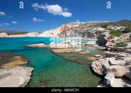 Firiplaka beach, Milos, Cyclades, Aegean Sea, Greek Islands; Greece; Europe - Stock Photo