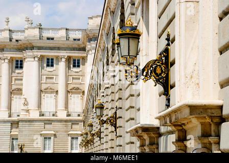 Royal palace, Palacio real, detail with lamps, Madrid, Spain - Stock Photo